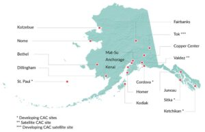 Map of Alaska showing locations of Child Advocacy Centers